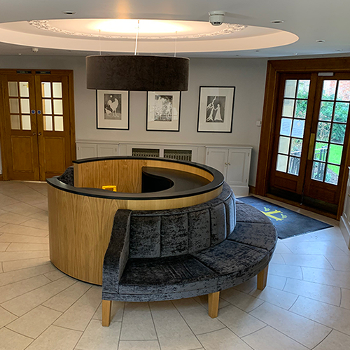 500 x 500 3D BESPOKE JOINERY round reception